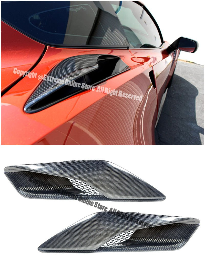 Z06 Style Carbon Fiber Rear Quarter Panel Air Ducts Intake Vents Pair For 14-Up Chevrolet Corvette C7 2014 2015 2016 2017 14 15 16 17