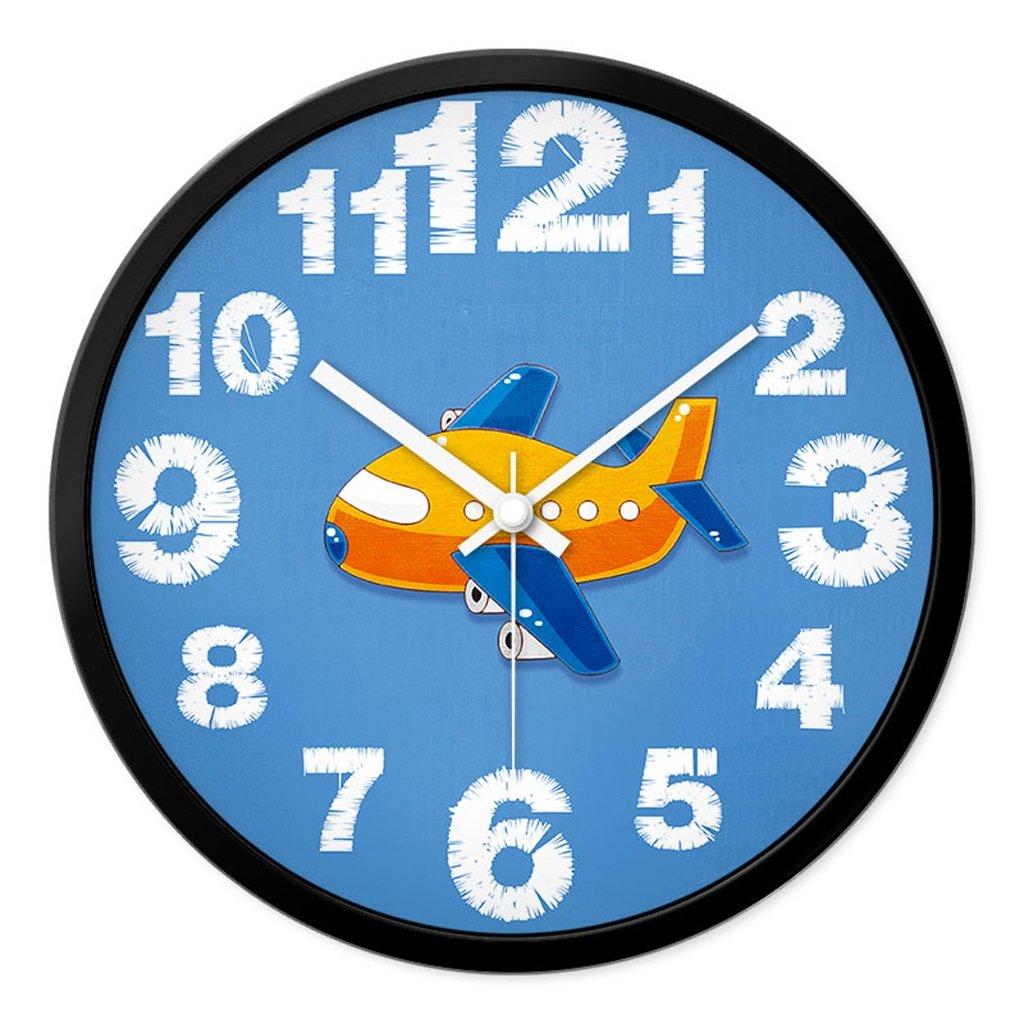 Unbekannt FANJIANI Cartoon Mute Wanduhr Kreative Kinderzimmer Schlafzimmer Wohnzimmer Nette Stumme Persönlichkeit Moderne Uhr Quarzuhr Uhr Hängende Tabelle (Farbe : Schwarz, größe : 12 Zoll)