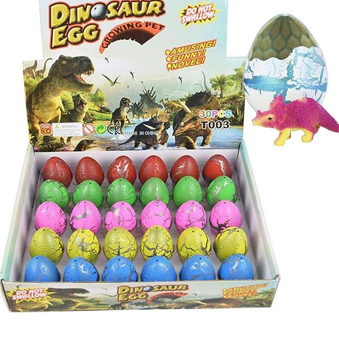 Wenosda Huevos de Dinosaurio Toy Novedad eclosión Huevo de Dinosaurio para niños Paquete de Gran tamaño de 30 Piezas, Rainbow Crackle