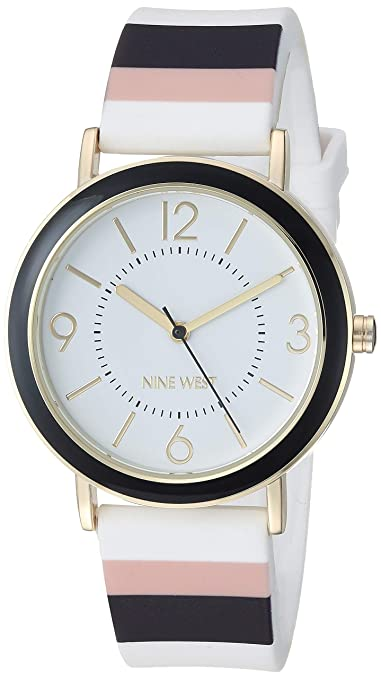 Nine West Women's NW/2296BKMT Multicolor Striped Silicone Strap Watch