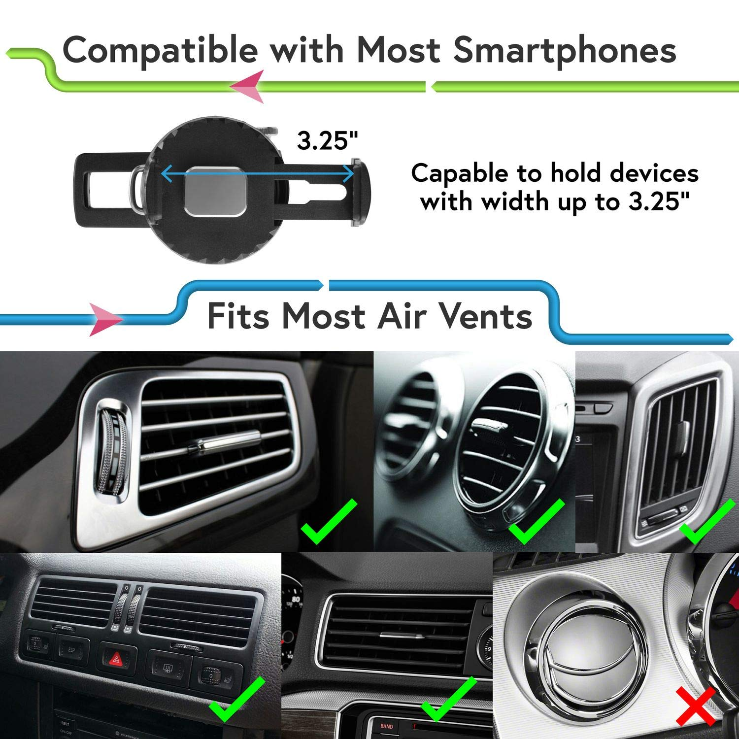 Car Air Vent Phone Holder Insten Car Mount One Touch Quick Snap Phone Holder 360 Degree Rotation Cradle Compatible with iPhone X//XS//XS Max//XR//8//Samsung Galaxy S10//S10 Plus//S10e//S9//S9+//S8//S8+//LG eForCity 4351578021