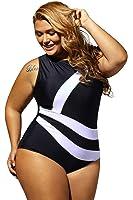 Lalagen Women's Slimming Plus Size Sport Monokini One Piece Swimsuit for Women Black