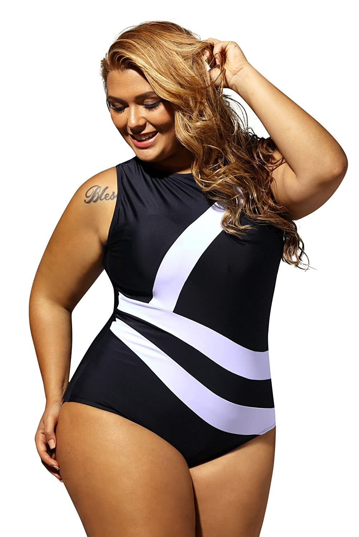 74e15bc5018 TEZUKAFUJI Plus Size 1pcs Sports Swimwear Bathing Suit Monokini Swimsuit  For Women at Amazon Women s Clothing store