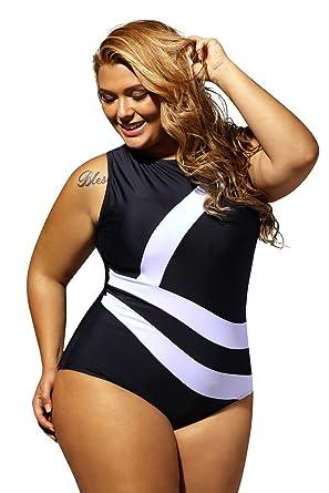 edec0e4b50f Lalagen Women's Slimming Plus Size Sport Monokini One Piece Swimsuit for  Women Black at Amazon Women's Clothing store:
