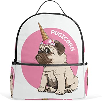 Personalised Child/'s Pug Dog School Bag College Laptop Bag add a name free