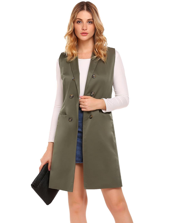 d0d9a89e11 Zeagoo Casual Lapel Blazer Jacket Women s Long Sleeveless Duster Trench Vest  (S-XXL) at Amazon Women s Coats Shop