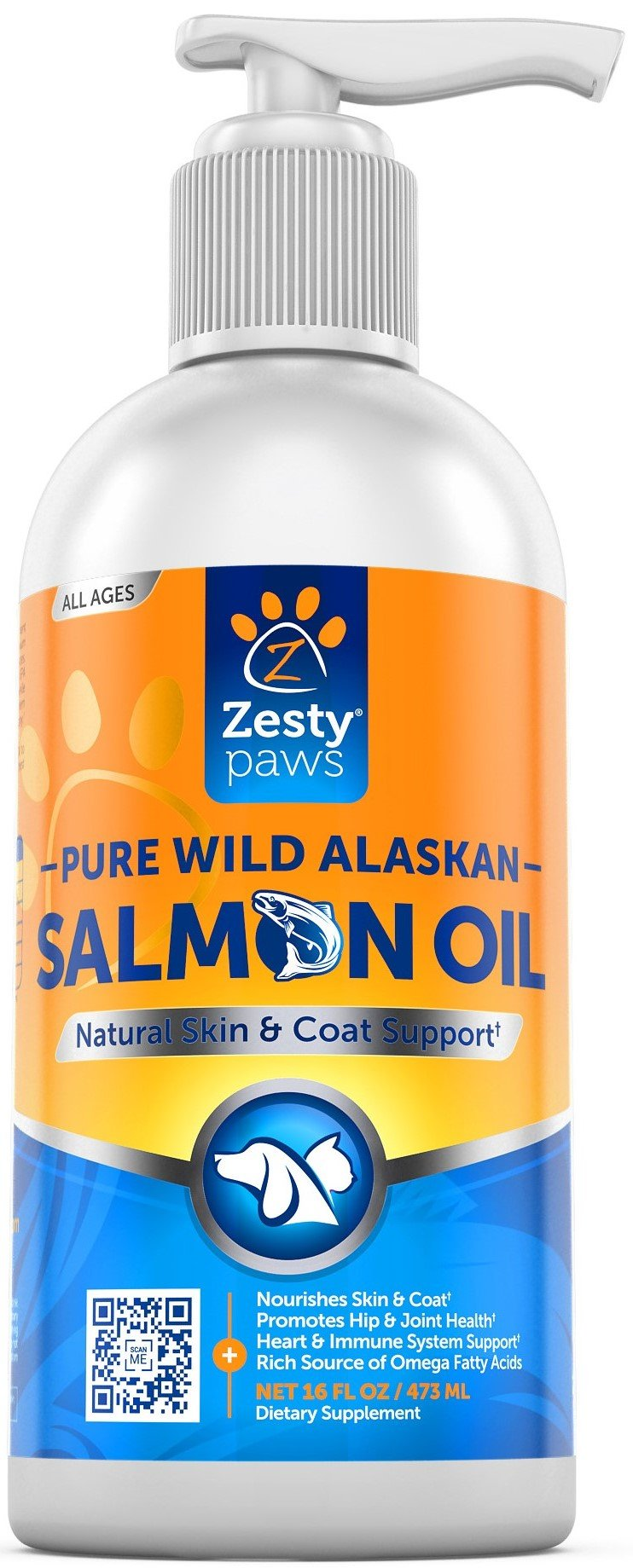 Pure Wild Alaskan Salmon Oil for Dogs & Cats - Supports Joint Function, Immune & Heart Health - Omega 3 Liquid Food Supplement for Pets - All Natural EPA + DHA Fatty Acids for Skin & Coat - 16 FL OZ