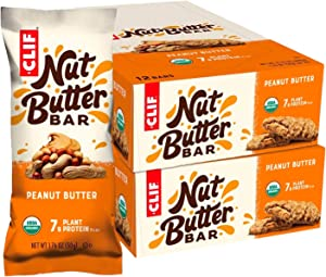 CLIF Nut Butter Bar - Organic Snack Bars - Peanut Butter - Organic - Plant Protein - Non-GMO (1.76 Ounce Protein Snack Bars, 24 Count)