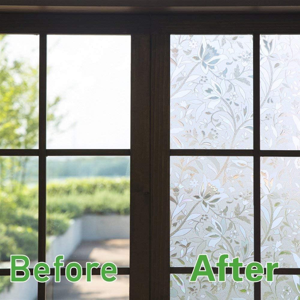 Zindoo 3d Ohne Klebstoff Fensterfolie Dekorfolie Sichtschutzfolie