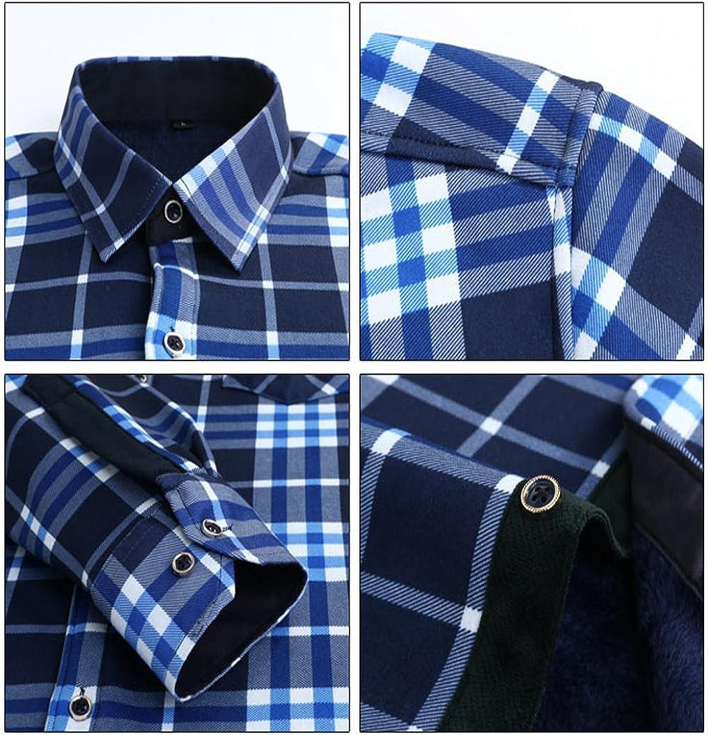 S/&S Mens Premium Blue Series Faux Fur Lined Plaid Shirt Chest Pocket Button Down Shirts