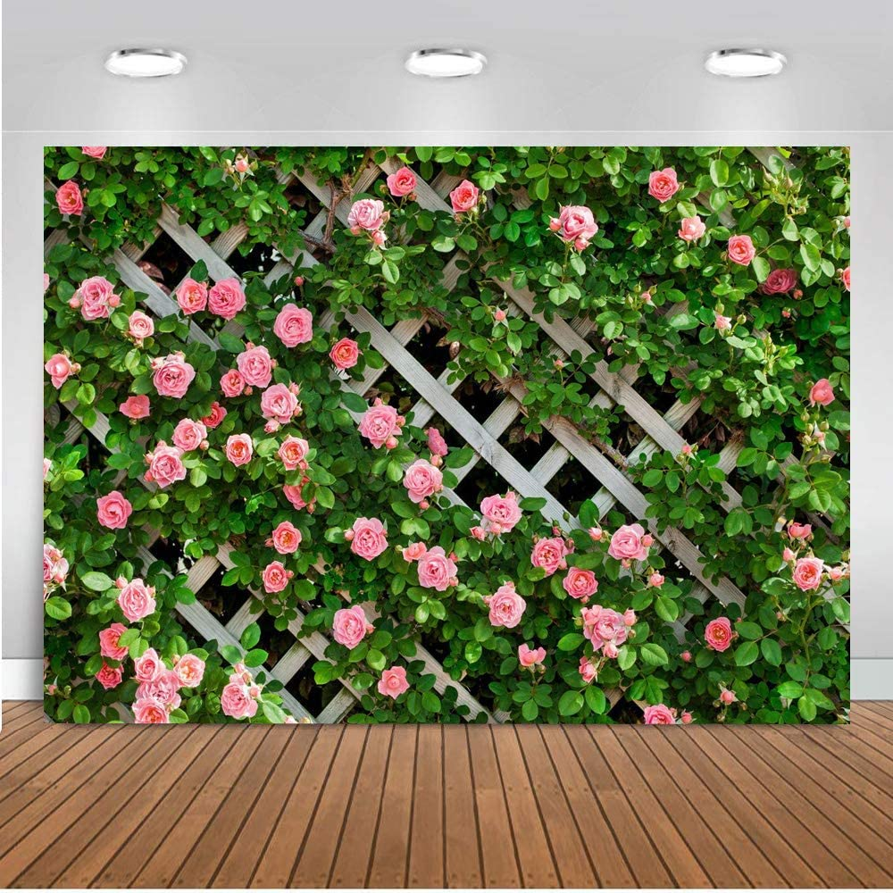 AIIKES 7x5FT Flowers Photography Backdrop Spring Floral Photo Background Green Leaf Fence Backdrops Wedding Bridal Backdrop Baby Shower Birthday Photo Booth Studio Prop 11-453