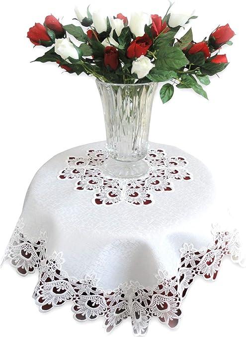 Formal Dinner Placemats Wedding Linens SALE Vintage Linens Lace Table Doily White Linen Round Placemats Ribbon Lace Placemat