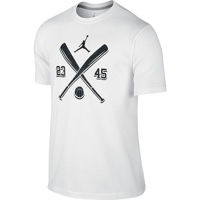 e03c0b41cdda Amazon.com  Jordan AJXI Men s T-Shirt White Black 649346-100  Sports ...