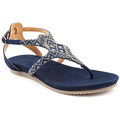 72d24e858a65c8 Ladies Jones Bootmaker Hadley Navy Suede Flat Sandals Size 8  Amazon ...
