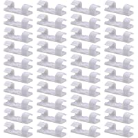 40 Pack White Cable Clips - Viaky Strong 3M Self Adhesive Wire Holder Organizer Durable Cord Management System for Organizing Cables Home and Office