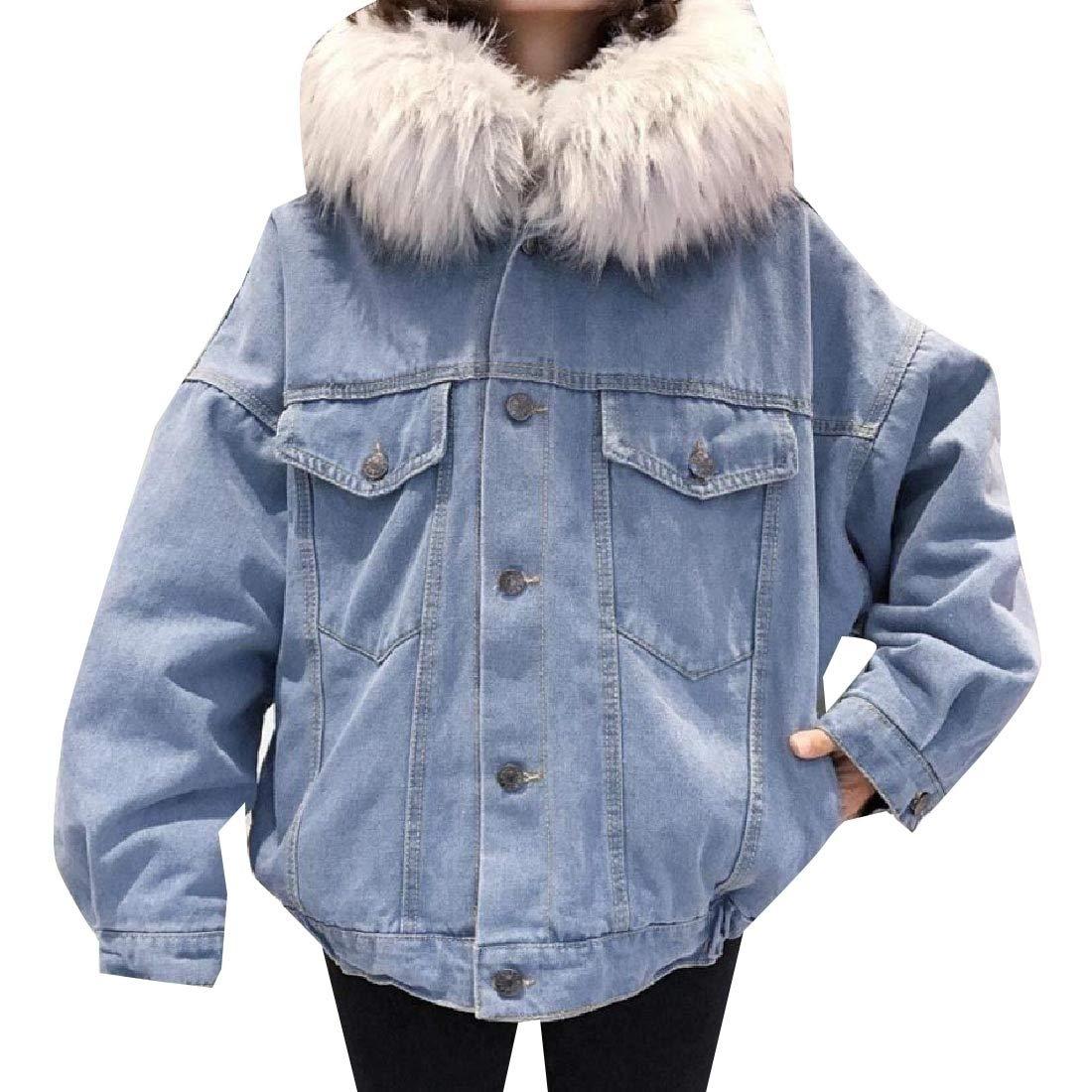 YUNY Womens Outwear Faux-Fur Trim Plus Velvet Simple Denim Jacket Grey L