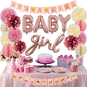Cuterui Baby Shower Decorations for Girl,Metallic Rose Gold Foil Tissue Paper Pom Poms,It's A Girl Baby Shower Banners,Baby Girl Letter Balloons and Honeycomb Balls Kit for Baby Shower Decorations