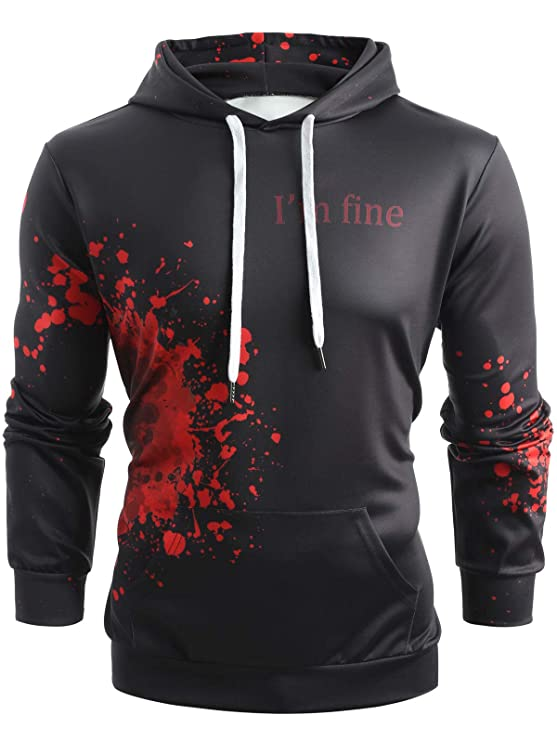 69b74116119 CharMma Men s I m Fine Blood Halloween Sweatshirt Long Sleeve Pullover  Hooded  Amazon.co.uk  Clothing