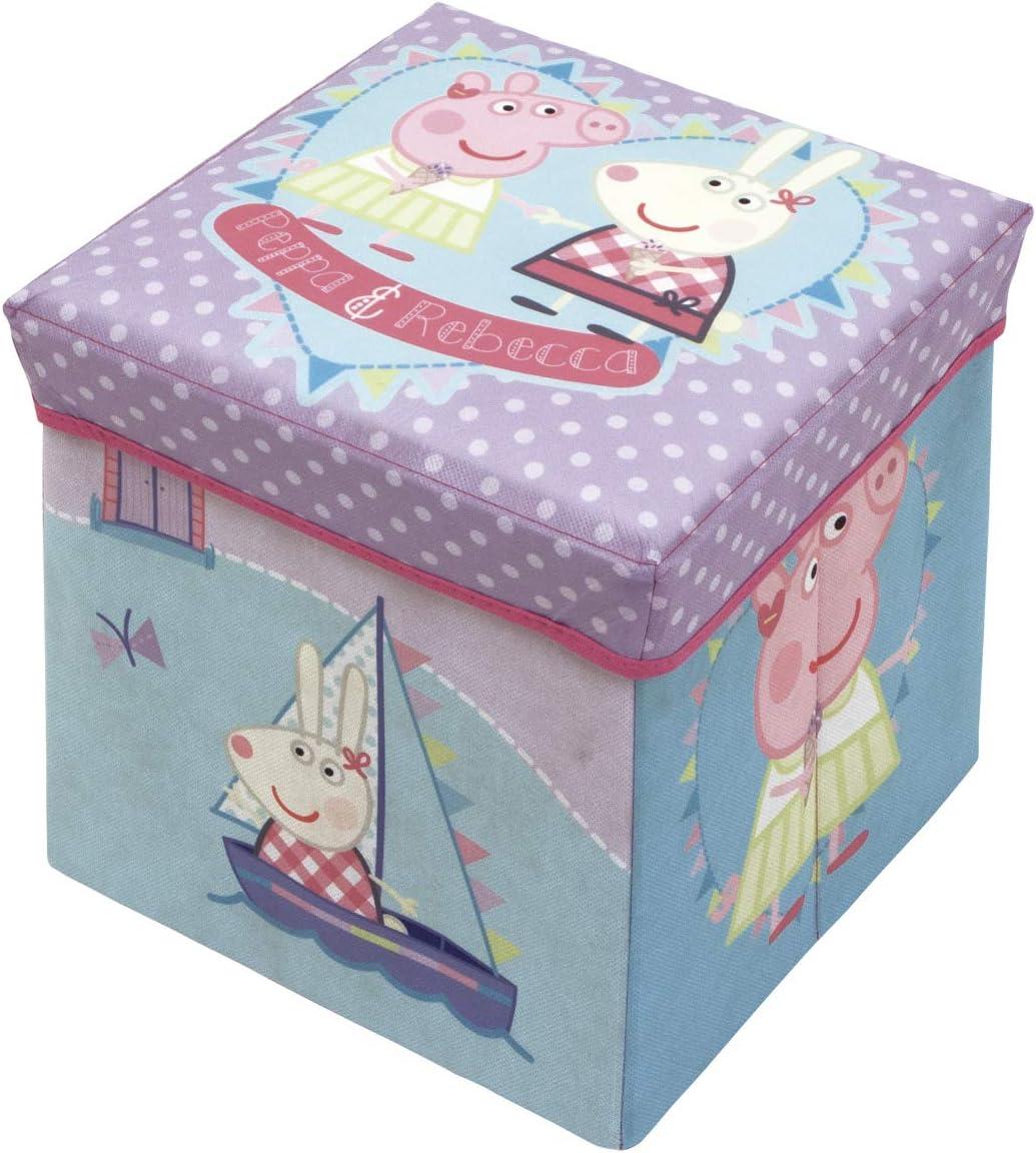 ARDITEX - Reposapiés y Caja para Guardar Cosas de Peppa Pig - Fabricado en poliéster, de Color Rosa, con Unas Dimensiones de 30 x 30 x 30 cm.