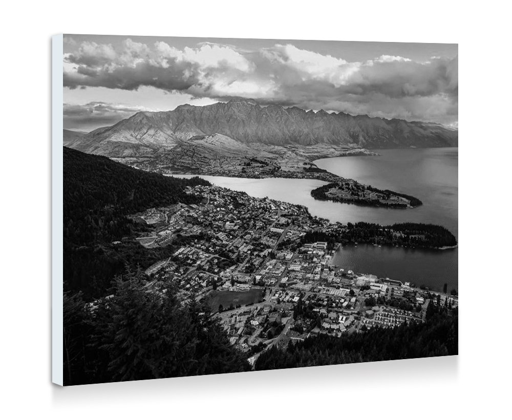 Amazon com queenstown new zealand art print wall art frameless decorative painting black and white ready to hang 16x12 inches posters prints