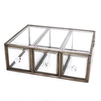 3 Schubladen Organizer Vintage Klar Glas U0026 Messing Metall Schmuck Und  Kosmetik Aufbewahrung Make Up