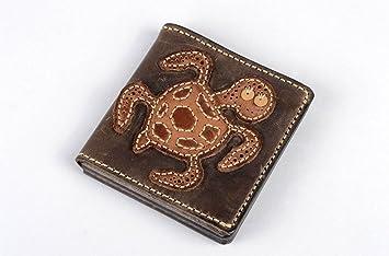 Cartera de piel natural artesanal accesorio para hombre decorado regalo original