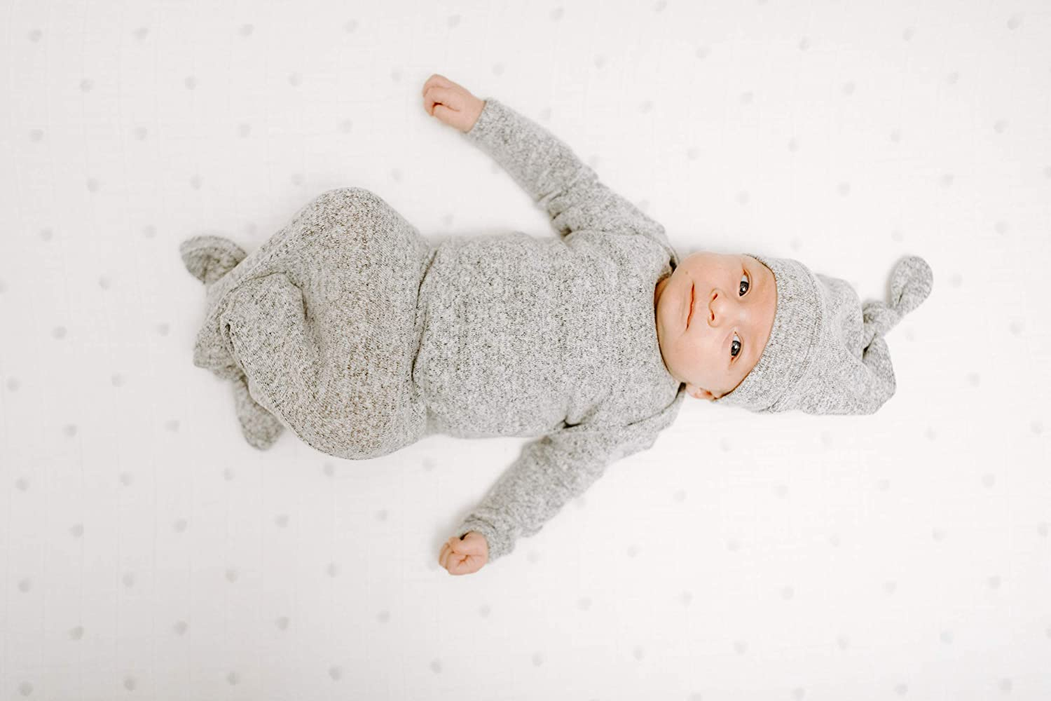 anais Snuggle Knit Knotted Newborn Baby Gown and Hat Set Super Soft and Stretchy Infant Gown with Mitten Cuffs aden Heather Grey 0-3 Months
