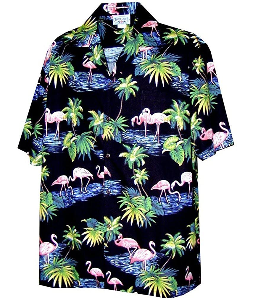 Pacific Legend Men's Flamingos Hawaiian Shirt