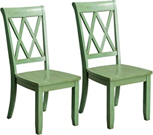 Standard Furniture Vintage Transitional Style Dining Side Chairs, Pack of 2, Distressed Green