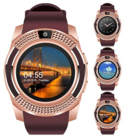 V8 Sports Smartwatch Bluetooth with Camera Message Push Touch Screen  Pedometer Sedentary Reminder Sleep Monitor Instant Notification Anti-Lost