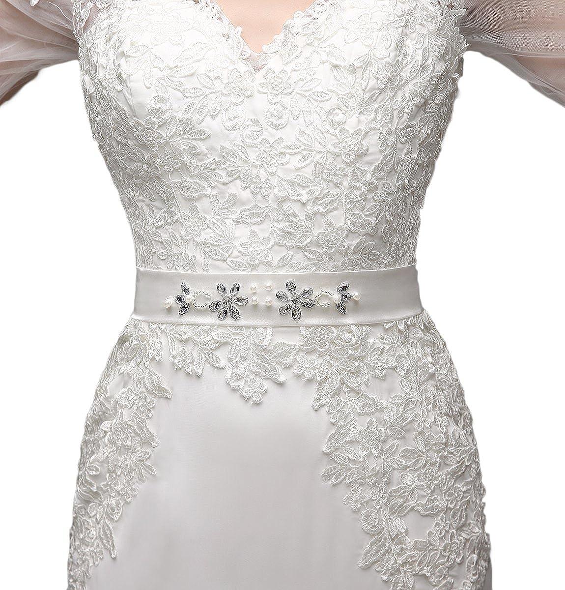 Engerla - Vestido de novia de boda, tipo sirena, cuello en V, manga 3/4, encaje, con aplique: Amazon.es: Ropa y accesorios