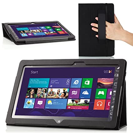 new arrivals 6ddef 77fa7 MoKo Slim Cover Case for Lenovo Thinkpad Tablet 2 10.1 inch Windows 8 Pro  tablet, Black (with Flip Stand, Integrated Elastic Hand Strap, Stylus Loop,  ...