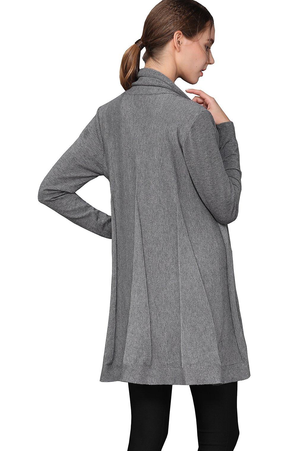 shengweiao Womens Long Sleeve Classic Knit Cardigan Sweater (Large, Dark Grey) by shengweiao (Image #5)