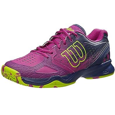 Wilson KAOS COMP W, Chaussures de Tennis Femme - Multicolore - Mehrfarbig (AQUAGREEN/Blue Iris WIL/Fandango Pink), 37 2/3