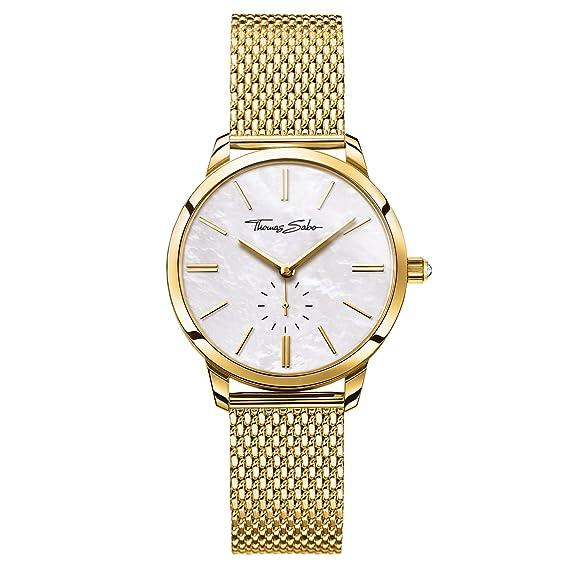 Thomas Sabo Reloj para mujer Glam Spirit Oro amarillo y nácar WA0302-264-213-33 mm: Amazon.es: Relojes