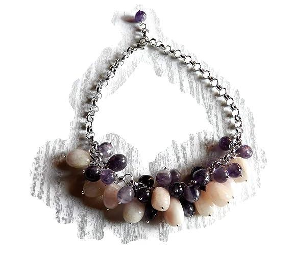 ff9356833e Collana girocollo con ciondoli di berillo rosa e ametista viola ...