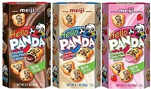 Meiji Hello Panda Biscuits Variety 6 Packs – Strawberry, Vanilla and Choco Creme
