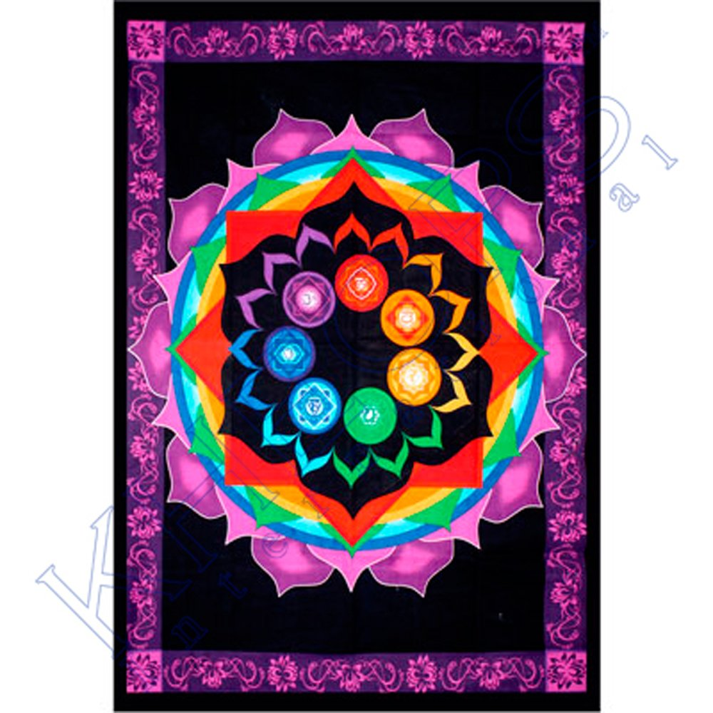 Kheops International - Cotton Single Tapestry Rainbow Chakra (57462)