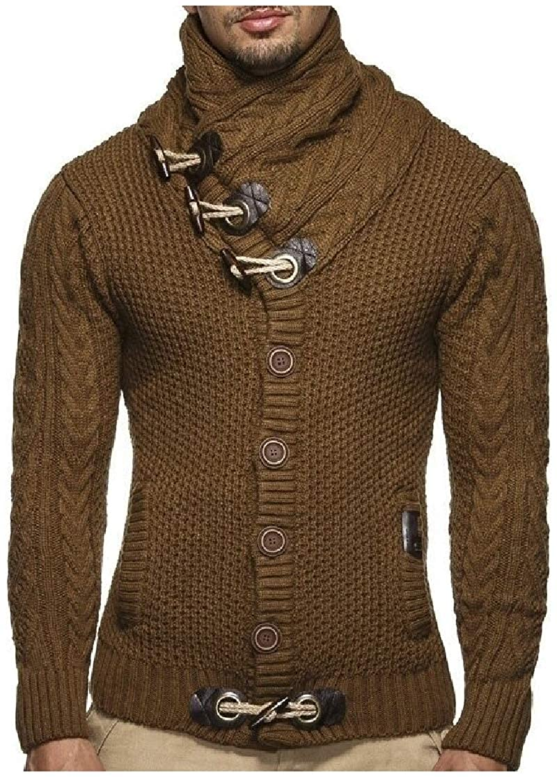 Comaba Mens Knitted Long-Sleeve Pile Collar Pullover Marled Cable Sweaters