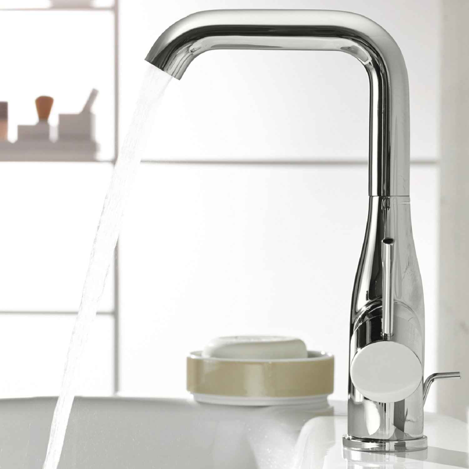 Amazing GROHE Essence Single Lever Basin Tap Pop Up Waste, High Spout One Handle  Mixer, With Plug, Swivel Spout, Water Saving, Chrome, 32628001:  Amazon.co.uk: DIY U0026 ...