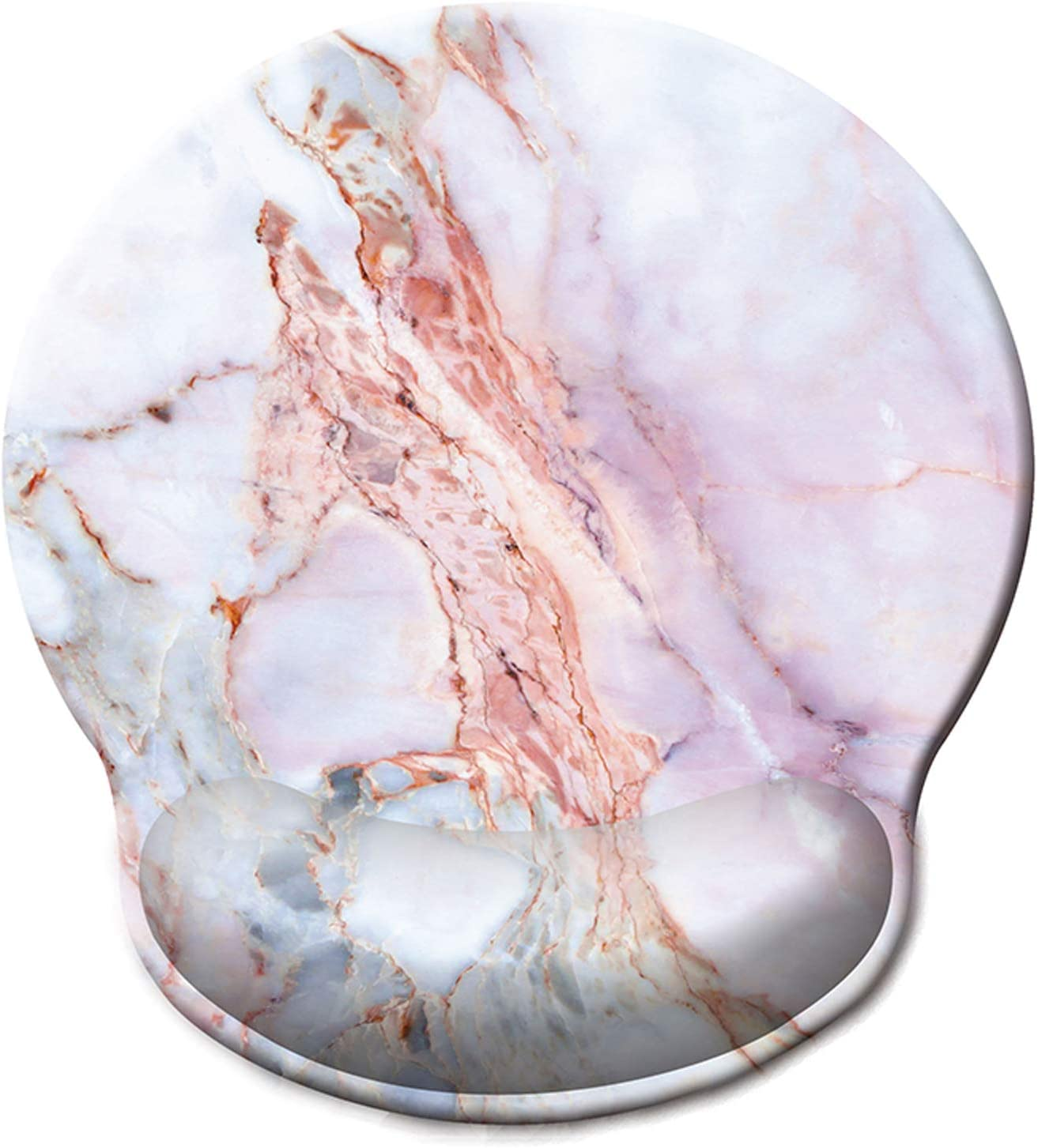 ITNRSIIET [30% Larger] Mouse Pad, Ergonomic Mouse Pad with Gel Wrist Rest Support, Gaming Mouse Pad with Lycra Cloth, Non-Slip PU Base for Computer Laptop Home Office, Pink Marble