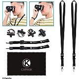 Ensemble de 4 vis de trépied à installation rapide de caméra, 2 lanières et 2 bracelets - pour une connexion rapide et sécurisé à votre appareil photo - Dragonne réglable - Lanières avec boucle détachable (4x vis en métal + 2x Lanières de cou + 2x Dragonne, Noir)