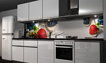 Küchenrückwand-Folie die Erdbeere Klebefolie Spritzschutz Küche ...