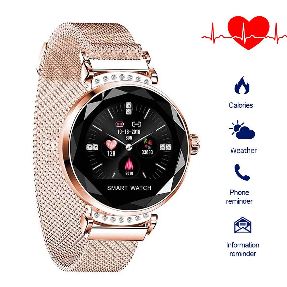 QIANRUNHE H2 - Reloj Inteligente para Mujer, podómetro, Monitor de ...