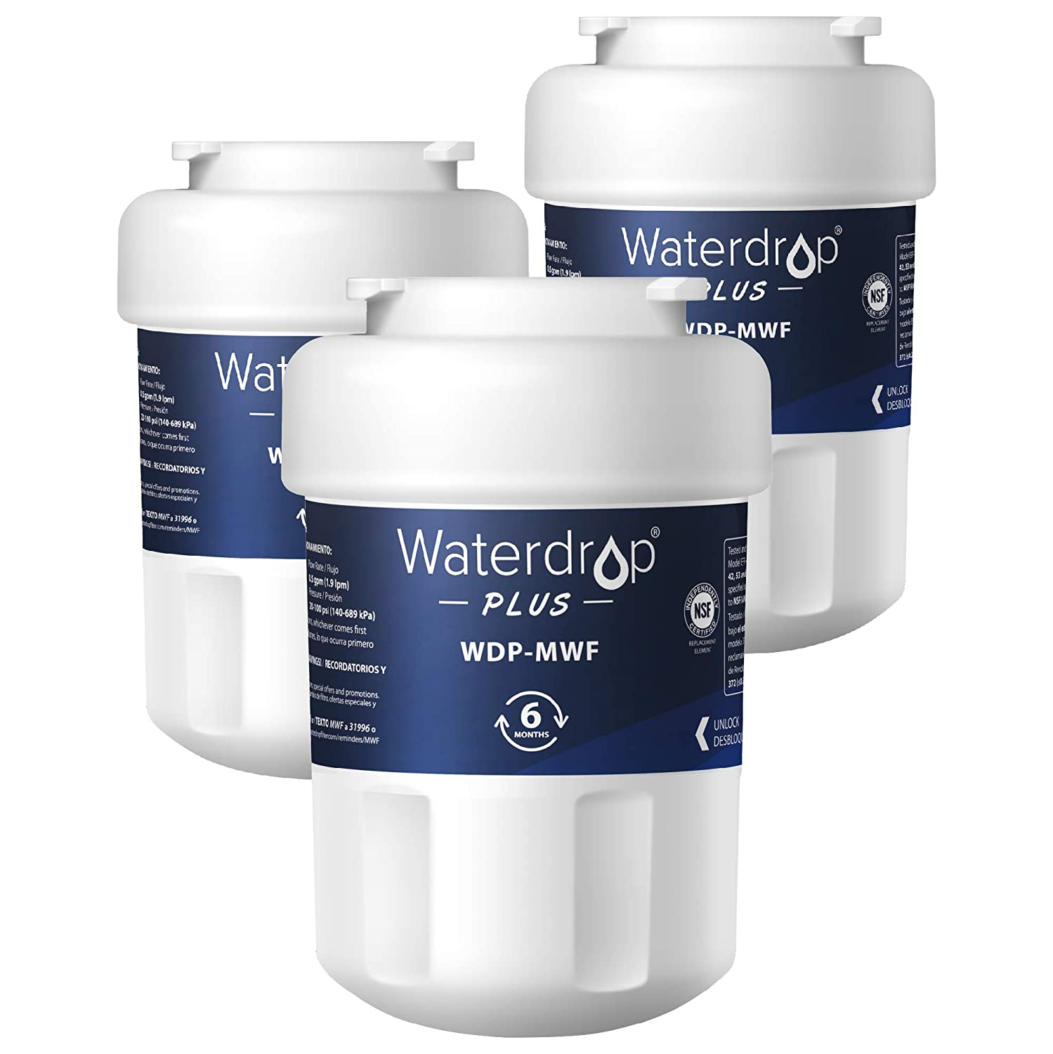 Waterdrop Plus MWF Refrigerator Water Filter, Compatible with GE SmartWater MWF, MWFINT, MWFP, MWFA, GWF, HDX FMG-1, GSE25GSHECSS, WFC1201, RWF1060, Kenmore 9991, Reduces Lead, NSF 401&53&42, 3 Pack