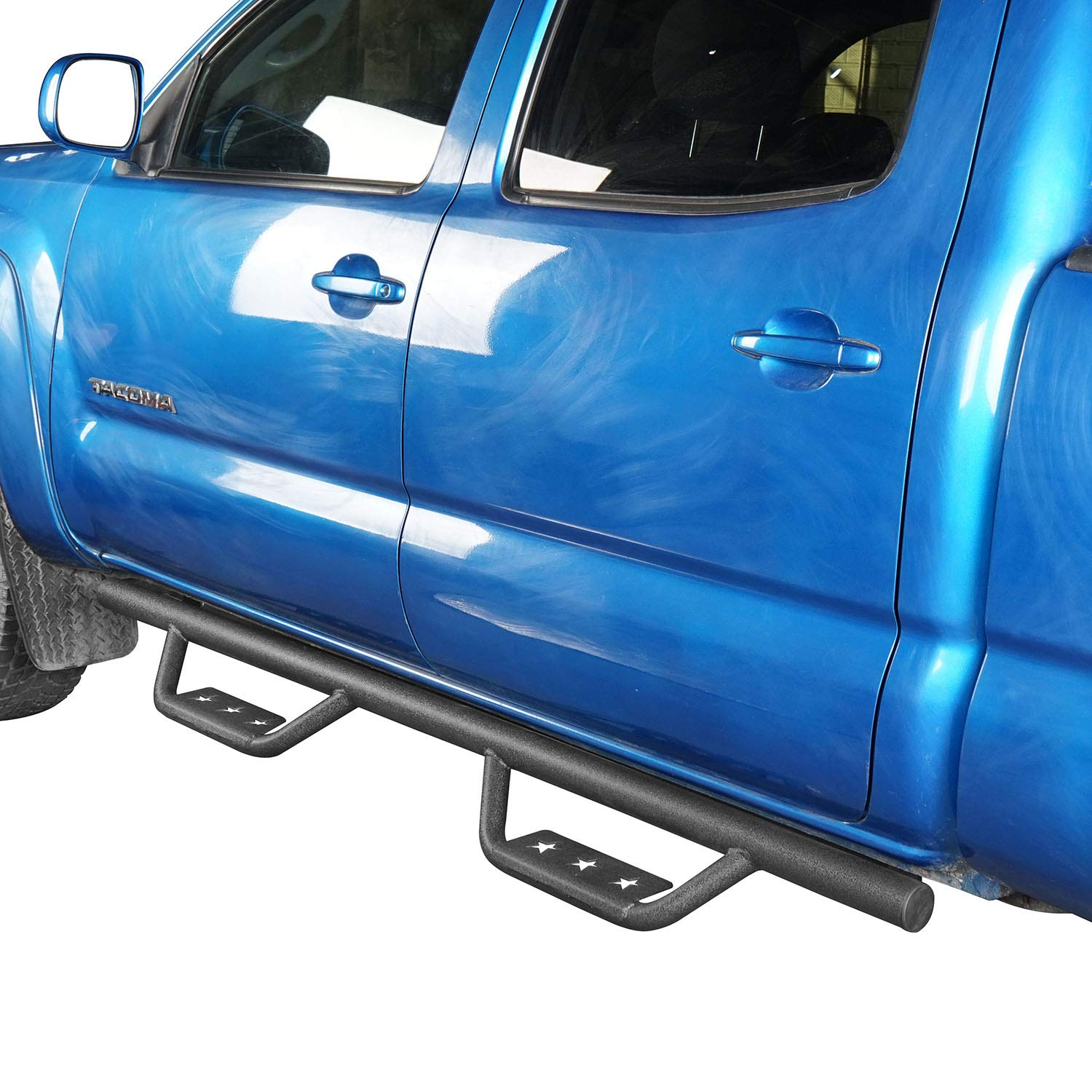 Wide Drop Side Steps Nerf Bars Solid Steel Rocker Guards for 2005-2015 2 Gen Toyota Tacoma Double Cab 4-Door