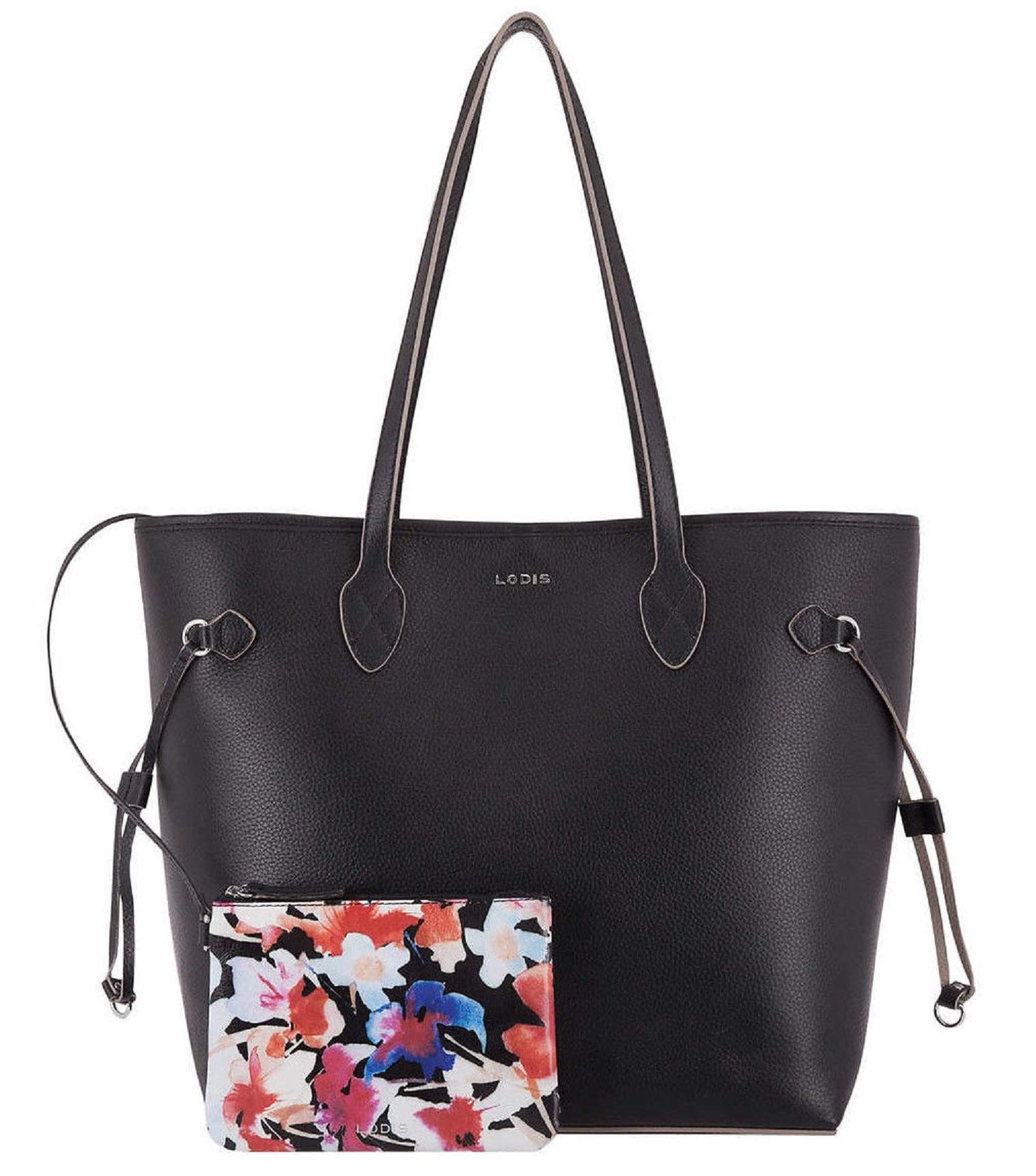 Lodis Bliss Leather Tote with Wristlet, Black