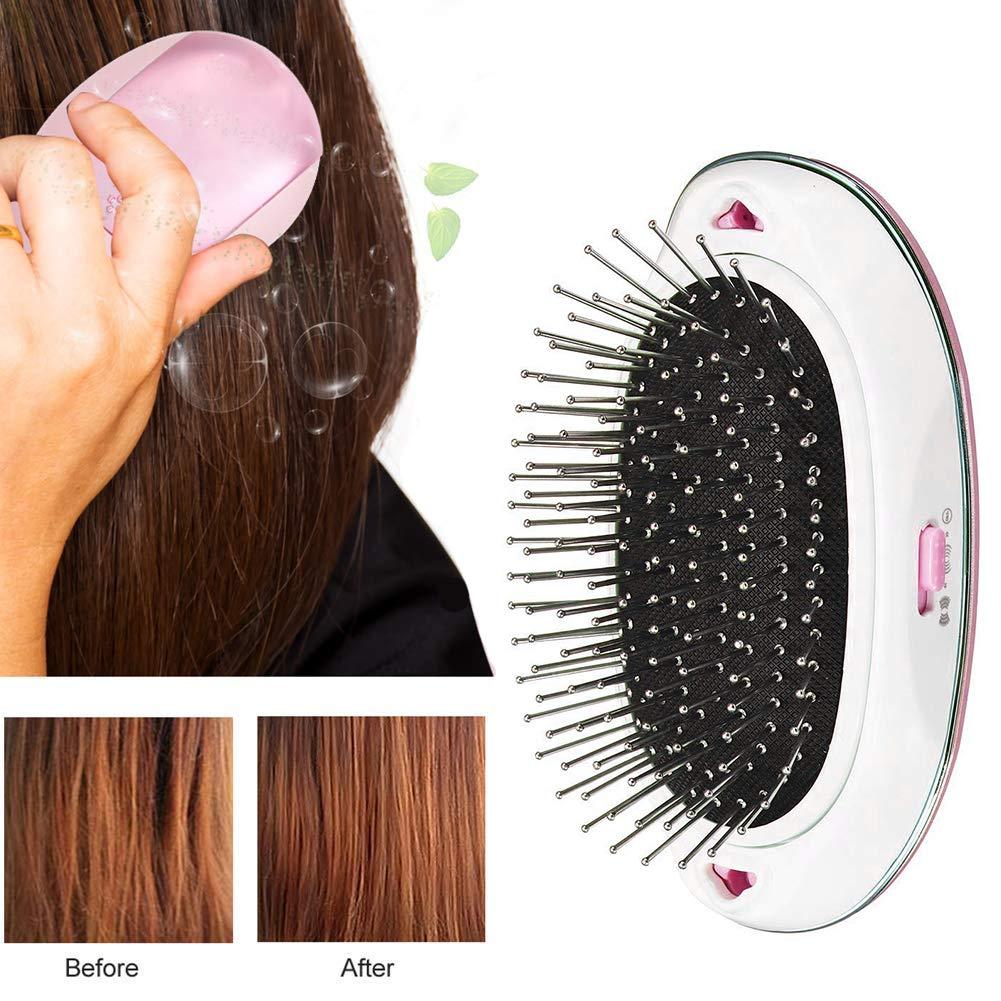 Cepillo de pelo eléctrico iónico mini portátil masaje cepillo peine: Amazon.es: Belleza
