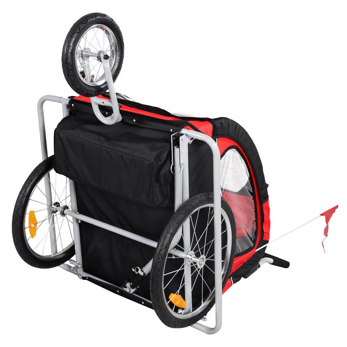 Bicycle Carrier Double Baby Bike Trailer Jogger Stroller 2 in 1 by Caraya (Image #7)