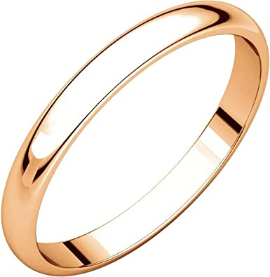 2.5mm Wide Mens and Womens 14k Yellow Gold Plain Wedding Band